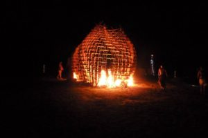 Burning the effigy at the first ever Dragon Burn
